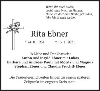 Traueranzeige von Rita Ebner von merkurtz