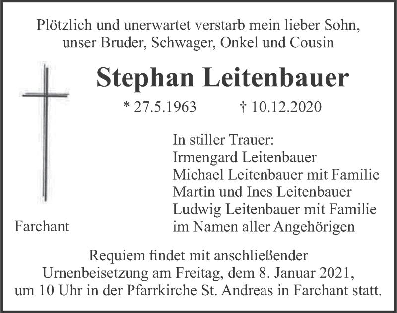 Traueranzeige für Stephan Leitenbauer vom 02.01.2021 aus merkurtz