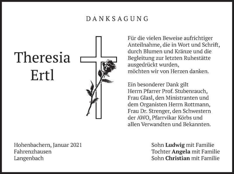 Traueranzeige für Theresia Ertl vom 16.01.2021 aus merkurtz
