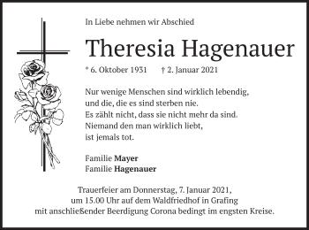 Traueranzeige von Theresia Hagenauer von merkurtz