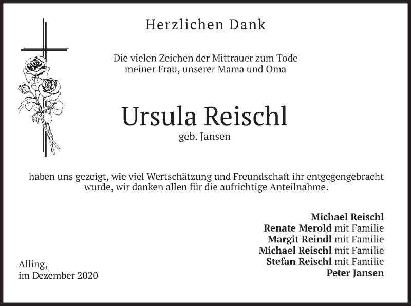 Traueranzeige für Ursula Reischl vom 09.01.2021 aus merkurtz