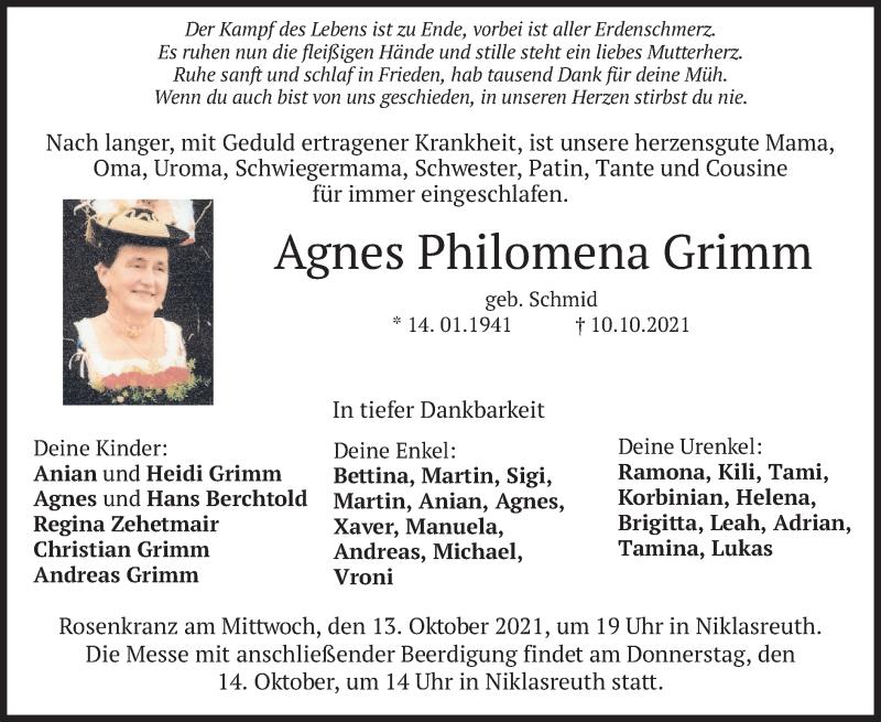 Traueranzeige für Agnes Philomena Grimm vom 13.10.2021 aus merkurtz