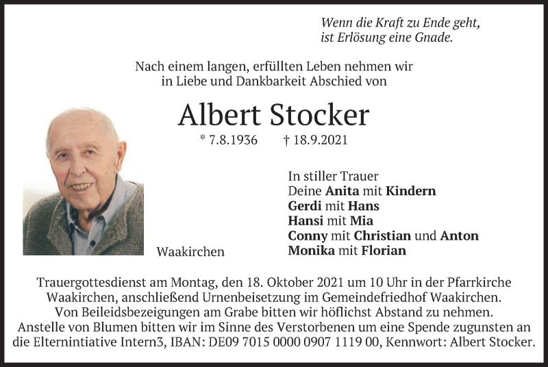 Traueranzeige für Albert Stocker vom 14.10.2021 aus merkurtz