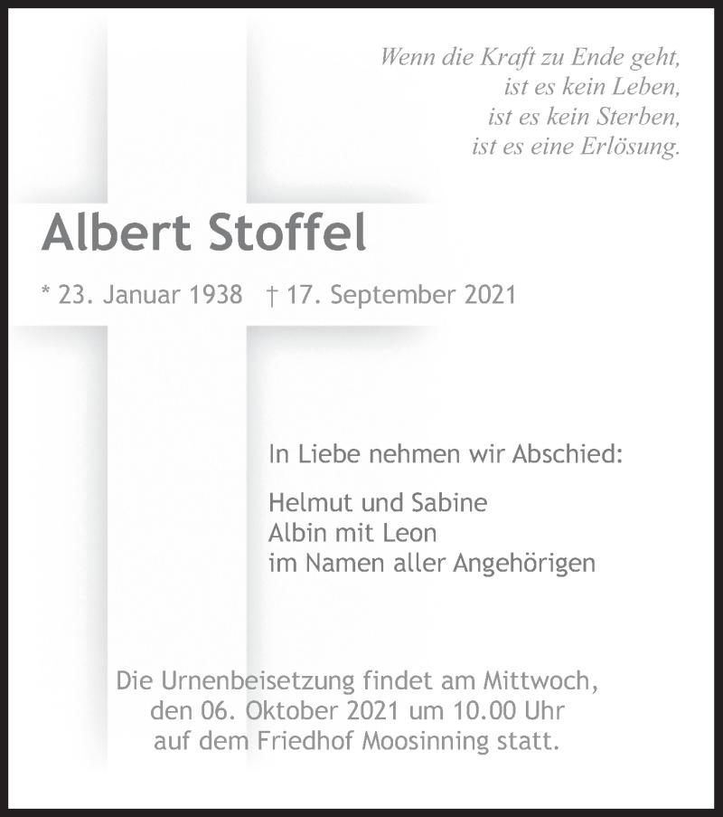 Traueranzeige für Albert Stoffel vom 02.10.2021 aus merkurtz