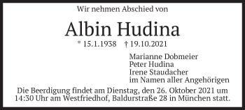 Traueranzeige von Albin Hudina von merkurtz