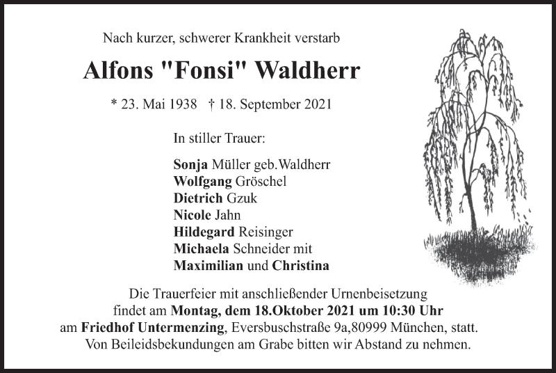 Traueranzeige für Alfons Waldherr vom 09.10.2021 aus merkurtz