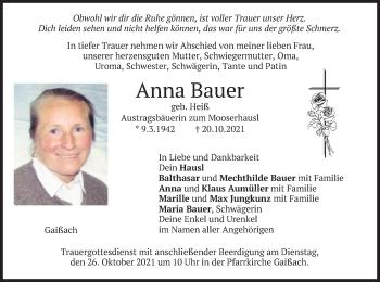 Traueranzeige von Anna Bauer von merkurtz