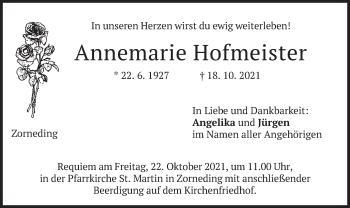 Traueranzeige von Annemarie Hofmeister von merkurtz