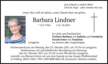 Traueranzeige von Barbara Lindner von merkurtz