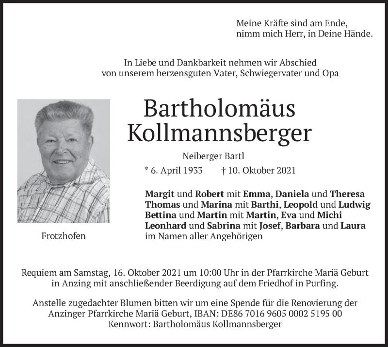 Traueranzeige für Bartholomäus Kollmannsberger vom 13.10.2021 aus merkurtz