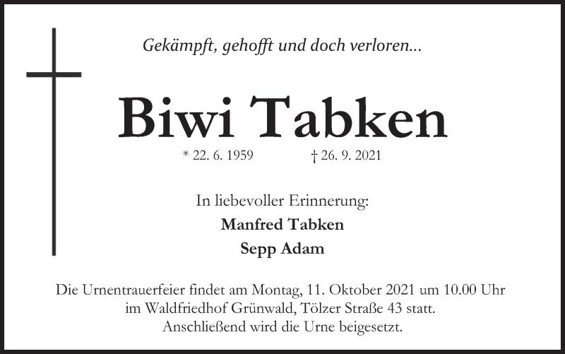 Traueranzeige für Biwi Tabken vom 09.10.2021 aus merkurtz