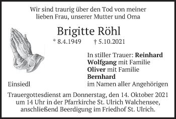 Traueranzeige von Brigitte Röhl von merkurtz