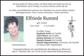 Traueranzeige von Elfriede Rumml von merkurtz