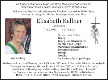 Traueranzeige von Elisabeth Kellner von merkurtz