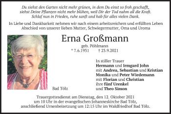 Traueranzeige von Erna Großmann von merkurtz
