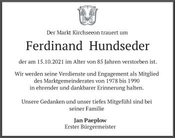 Traueranzeige von Ferdinand Hundseder von merkurtz