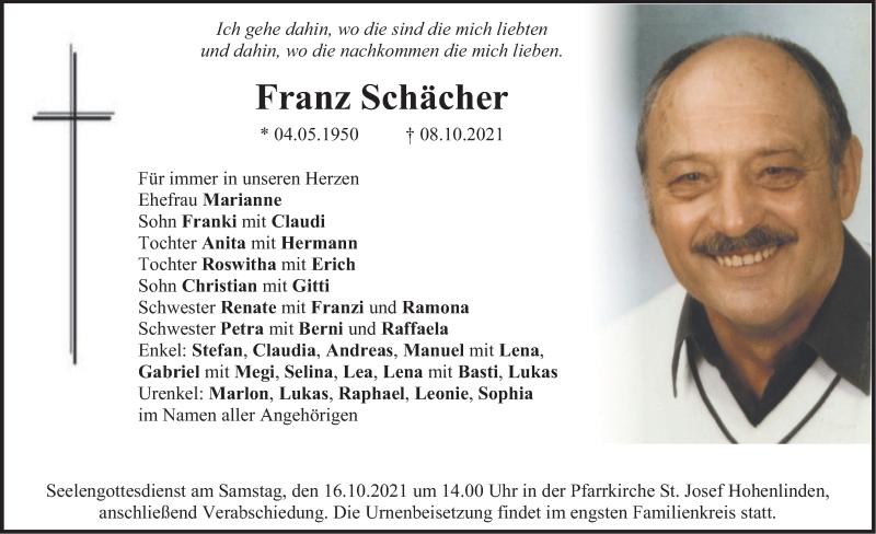 Traueranzeige für Franz Schächer vom 14.10.2021 aus merkurtz