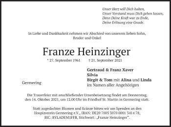 Traueranzeige von Franz Heinzinger von merkurtz