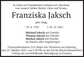 Traueranzeige von Franziska Jaksch von merkurtz