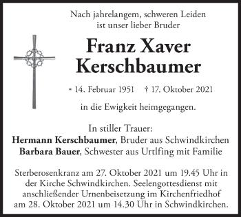 Traueranzeige von Franz Xaver Kerschbaumer von merkurtz