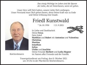 Traueranzeige von Friedl Kunstwald von merkurtz