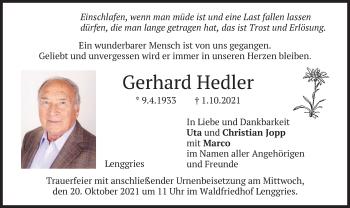 Traueranzeige von Gerhard Hedler von merkurtz