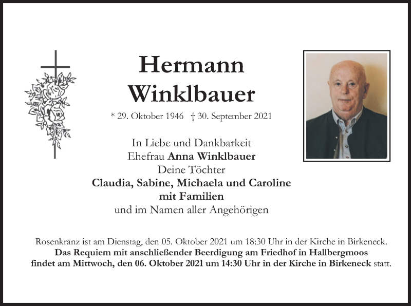 Traueranzeige für Hermann Winklbauer vom 02.10.2021 aus merkurtz