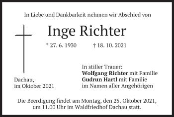 Traueranzeige von Inge Richter von merkurtz