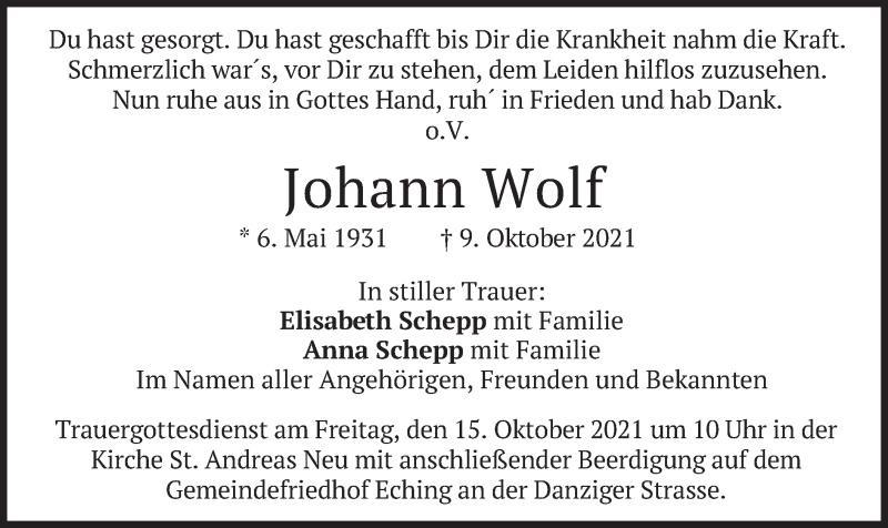 Traueranzeige für Johann Wolf vom 14.10.2021 aus merkurtz
