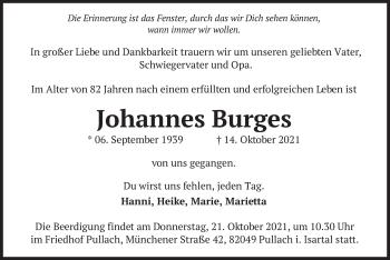 Traueranzeige von Johannes Burges von merkurtz