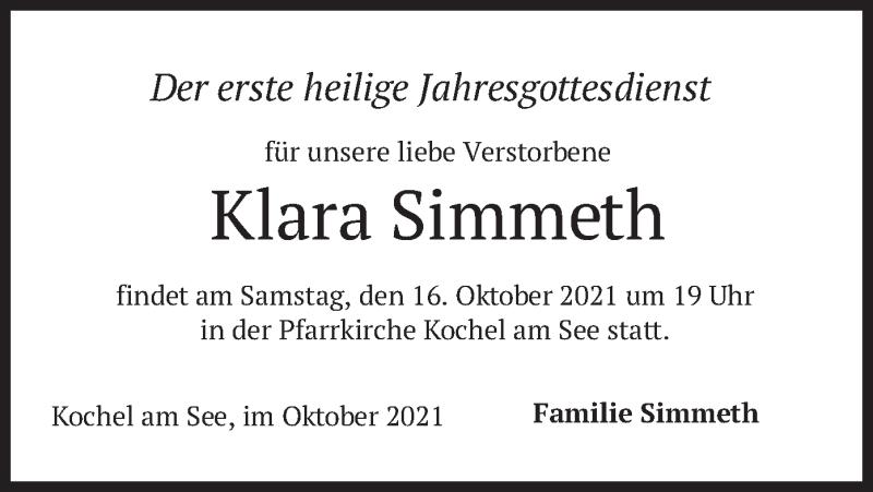 Traueranzeige für Klara Simmeth vom 14.10.2021 aus merkurtz