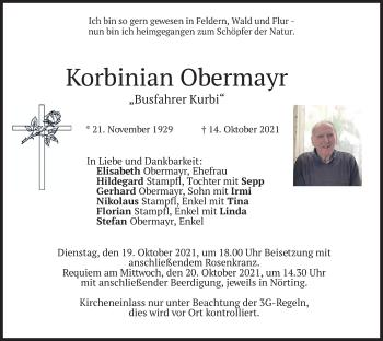 Traueranzeige von Korbinian Obermayr von merkurtz