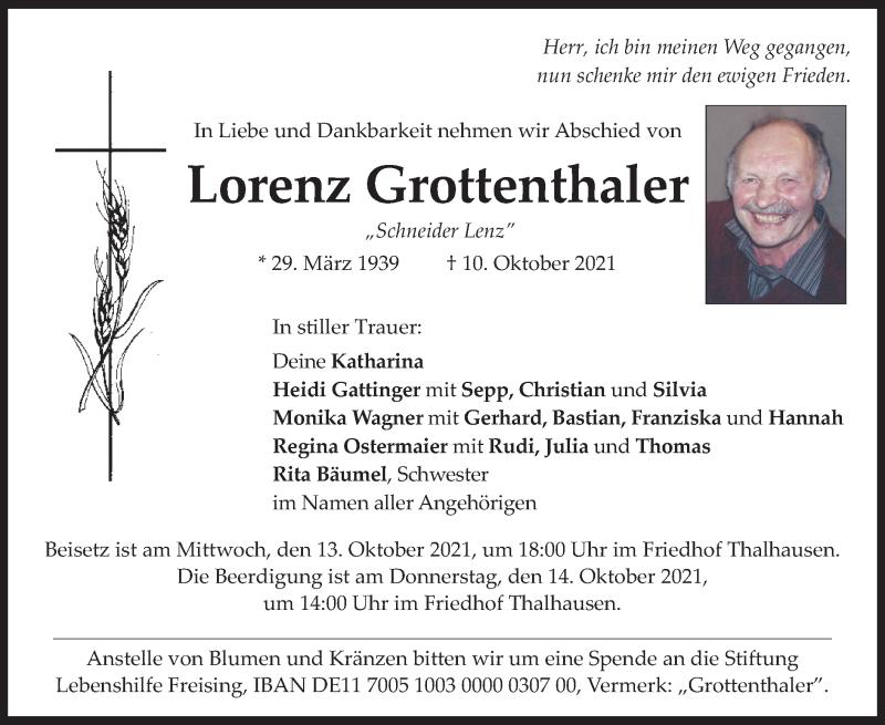 Traueranzeige für Lorenz Grottenthaler vom 12.10.2021 aus merkurtz