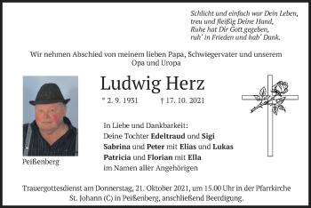 Traueranzeige von Ludwig Herz von merkurtz