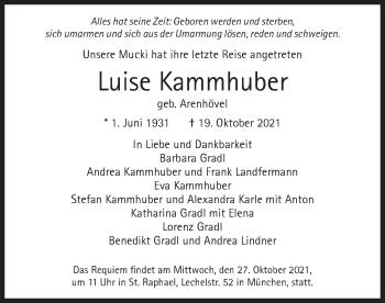 Traueranzeige von Luise Kammhuber von merkurtz