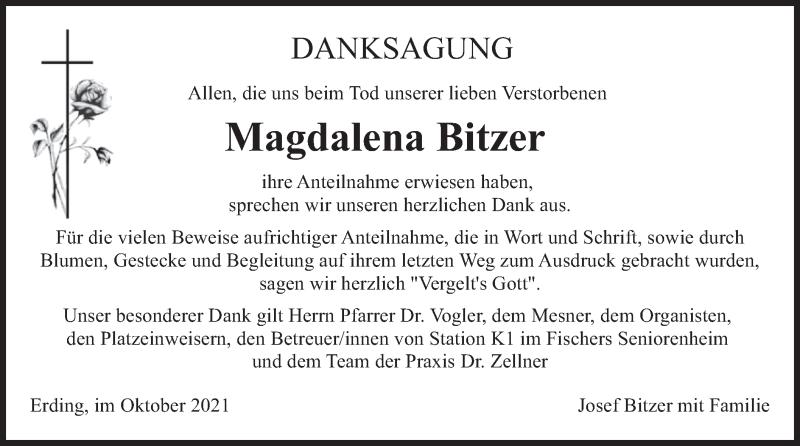 Traueranzeige für Magdalena Bitzer vom 23.10.2021 aus merkurtz