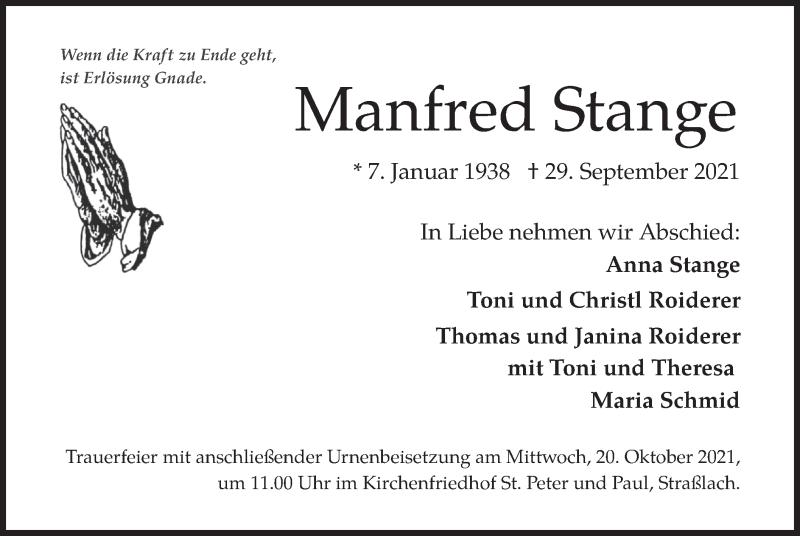 Traueranzeige für Manfred Stange vom 09.10.2021 aus merkurtz