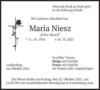 Traueranzeige von Maria Niesz von merkurtz