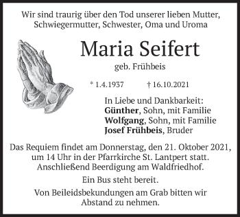 Traueranzeige von Maria Seifert von merkurtz