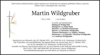 Traueranzeige von Martin Wildgruber von merkurtz