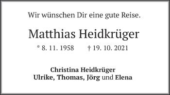 Traueranzeige von Matthias Heidkrüger von merkurtz