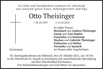 Traueranzeige von Otto Theisinger von merkurtz