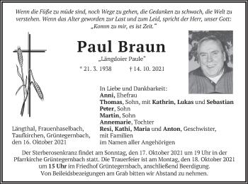 Traueranzeige von Paul Braun von merkurtz