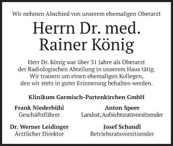 Traueranzeige von Rainer König von merkurtz