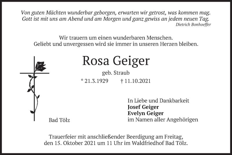 Traueranzeige für Rosa Geiger vom 13.10.2021 aus merkurtz