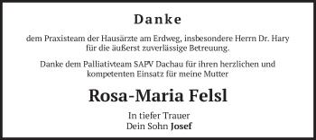 Traueranzeige von Rosa-Maria Felsl von merkurtz