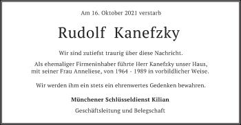 Traueranzeige von Rudolf Kanefzky von merkurtz