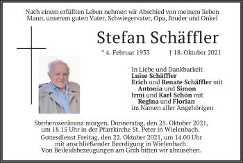 Traueranzeige von Stefan Schäffler von merkurtz
