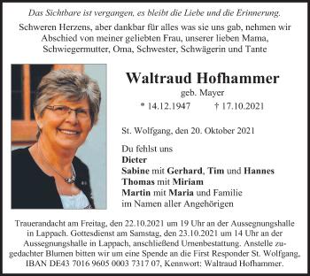Traueranzeige von Waltraud Hofhammer von merkurtz