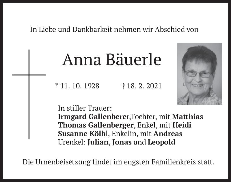 Traueranzeige für Anna Bäuerle vom 20.02.2021 aus merkurtz